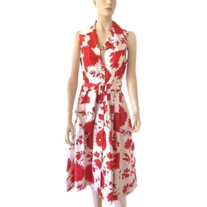 Jessica Howard red and white floral dress Size 8
